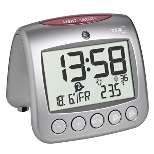 TFA Dostmann Digitaler Funk-Wecker mit Temperatur SONIO 2.0, 60.2559.54, Zwei Weckalarme, Anzeige Innentemperatur/Wochentag/Datum, Silber, (L) 112 x (B) 98 x (H) 98 mm