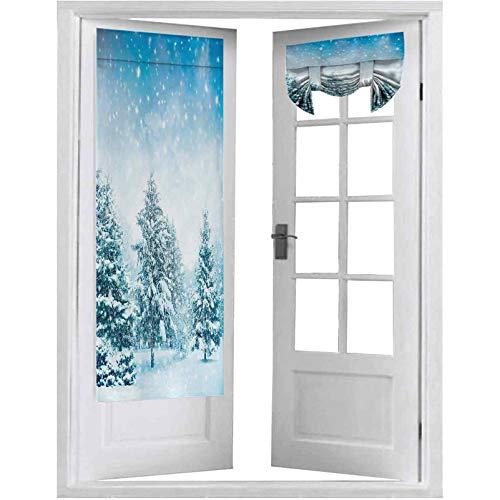 Cortina opaca para puerta francesa, abetos cubiertos de nieve en la montaña Blizzard Arctic Woodland Tranquil Outdooors, 2 paneles de 66 x 172 cm con aislamiento térmico para puerta de cristal,