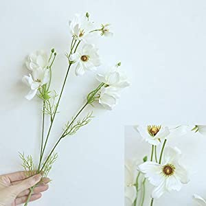 Artificial and Dried Flower Spring Cosmos Galsang Flower Silk Artificial Flower Bouquet for Home Living Room Decoration Garden Party Decor Fake Flower – ( Color: White )
