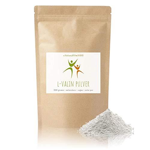 L-Valin Pulver - 300 g - verzweigtkettige Aminosäure - in geprüfter Qualität - besonders für Veganer geeignet - 100% vegan & pur - glutenfrei - laktosefrei - OHNE Hilfs- u. Zusatzstoffe