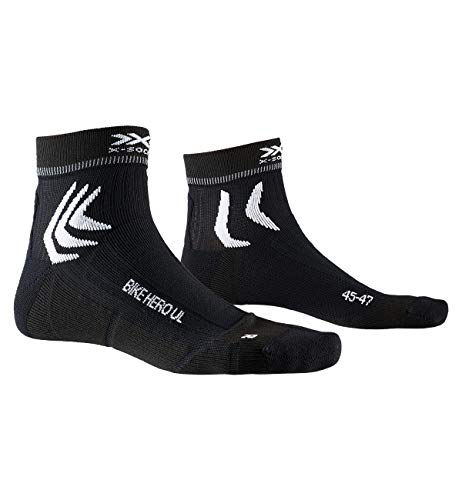 X-SOCKS Bike Hero Ultra Light Chaussette Mixte Adulte, Opal Black/Arctic White, FR : M (Taille Fabricant : 39-41)