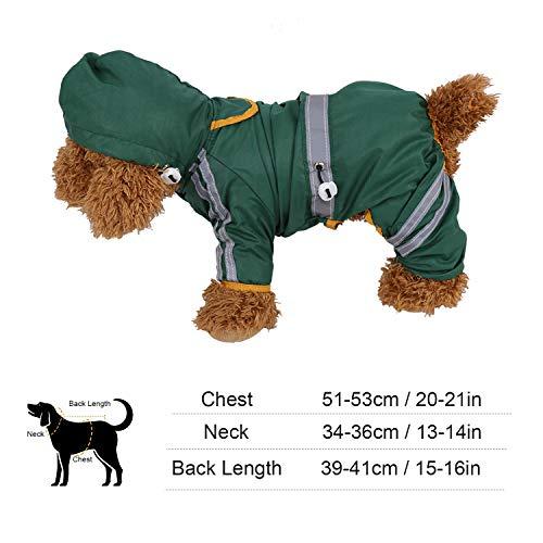 Fdit Impermeabile per Animali Giacca per Cani Cappuccio per Cani Cappotto per Pioggia Tuta Riflettente Abbigliamento per Abbigliamento da Esterno(XXL)