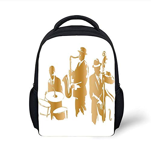 Kids School Backpack Jazz Music Decor,Vintage Style Illustration of Jazz Band Playing The Blues Music Home Vibes Art,Light Brown White Plain Bookbag Travel Daypack