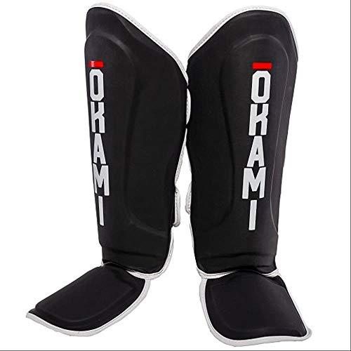 OKAMI Fightgear Schienbeinschützer Competitor - Schwarz - Kampfsport Muay Thai MMA Kickboxen Schienbeinschützer Schienbeinschoner für Kampfsport und Vollkontaktkampfsportarten (L/XL)