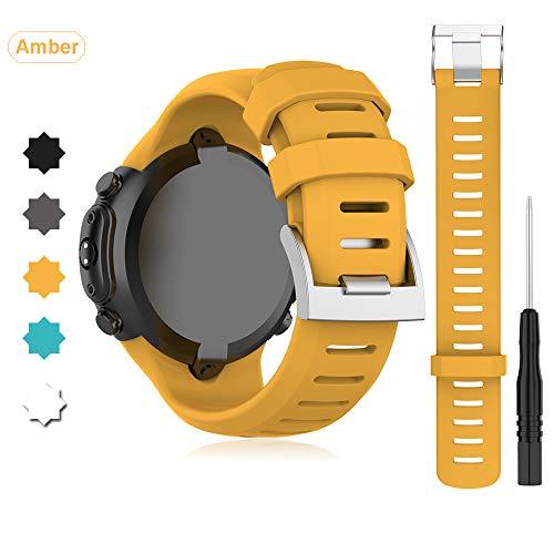 Buwico Armband für SUUNTO D6i NOVO/ D6i Zulu/ D6 Dive Watch, Silikon Handgelenk Uhrenarmbänder Sport Ersatz Uhrband Wechselarmbänder für SUUNTO D6i NOVO/ D6i Zulu/ D6 Dive Smartwatch (Bernstein)
