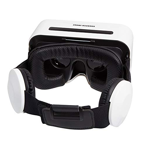 Sharper Image Virtual Reality Headset with Integrated Headphones Color Variety, Black and White.