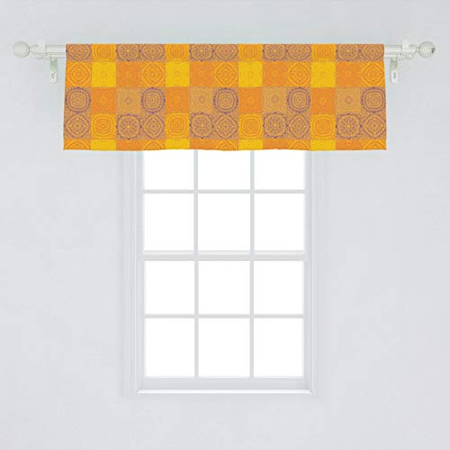 """Ambesonne Ethnic Window Valance, Asian Design Patchwork Style Squares in Oriental Pattern Print, Curtain Valance for Kitchen Bedroom Decor with Rod Pocket, 54"""" X 18"""", Orange Violet"""