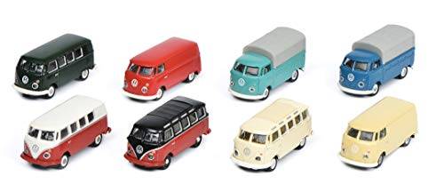 Schuco 452640800 - VW T1, 8 - er Set, Modellautos, 1:87, mehrfarbig