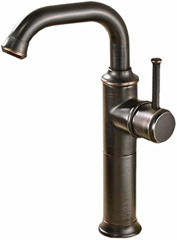 LaLF Europischer Wasserhahn Rotierende schwarze Bronze über dem Aufsatzbecken Becken mit heiem und kaltem Wasser, schwarzer Wasserhahn