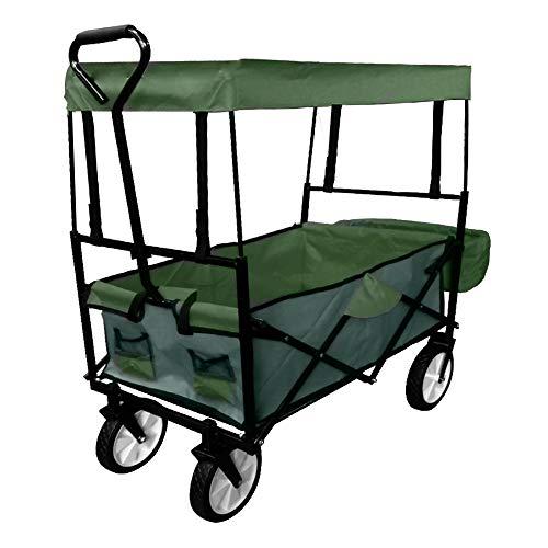 UISEBRT Bollerwagen faltbar mit Dach - Handwagen Gartenwagen Transportwagen Strandwagen Vorderräder 360°drehbar 120x55x110cm (Mit Dach,Grün)