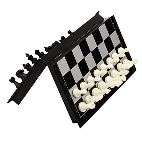 Gowsch - Juego de ajedrez magnético de plástico para niños, con tablero de ajedrez plegable, juguetes educativos para niños y adultos, color negro