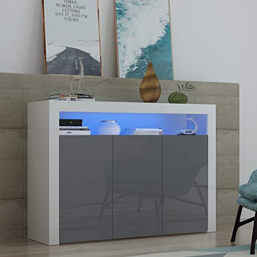 Panana Sideboard Modern Living Room Cupboard Unit Cabinet Furniture LxDxH 130x35x95cm (Grey)