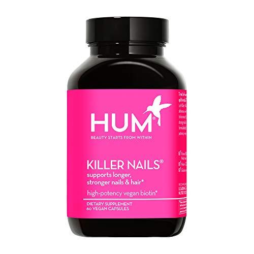 HUM Killer Nails - Hair & Nail Strength Supplement - High-Potency Vegan Biotin 5000mcg Helps Reduce Breakage for Healthy Nail and Hair Growth (60 Vegan Capsules)