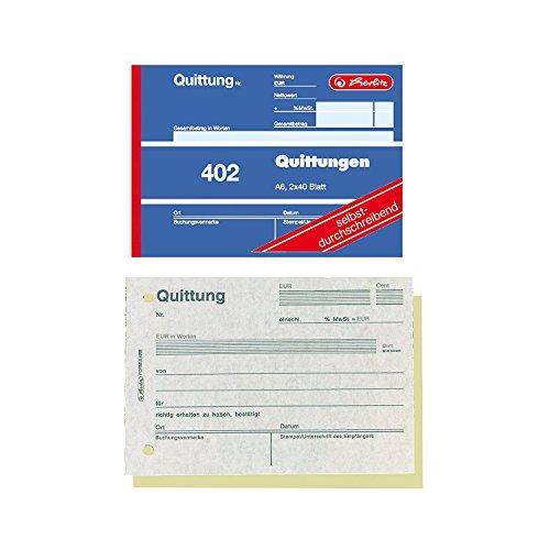 10er Sparpack Herlitz 7876147 Quittungsblock A6 402 2x40 Blatt, selbstdurchschreibend (10er Pack)