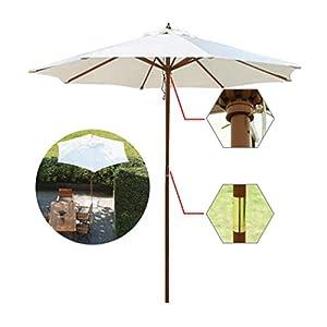 木製傘、ホワイトø8.9ftガーデンパラソルキャノピーパラソル、カフェ/ショップ/ウェディング/パーティー/プール/パティオ、円形