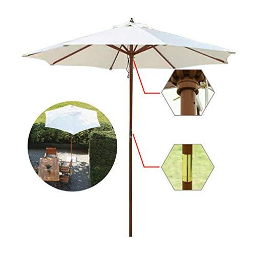 Sombrilla De Madera,Parasol De Jardín Blanca De ø8.9ft,para Cafetería Tienda Boda Partido Piscina Corte, Redondo