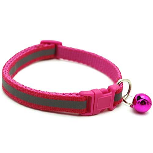 CHENGTAO Collar De Mascotas Reflectante Pet Bell Collar TAMAÑO Ajustable Adecuado para Cats Y Perros PEQUEÑOS Suministros para Mascotas (Color : Rose Red, Size : 19 32cm)