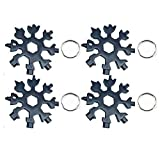 18-in-1 Snowflake Multi-Tool,Stainless Steel Multitool Card Combination Compact Portable Outdoor Products Snowflake Tool Card 4Pack Black