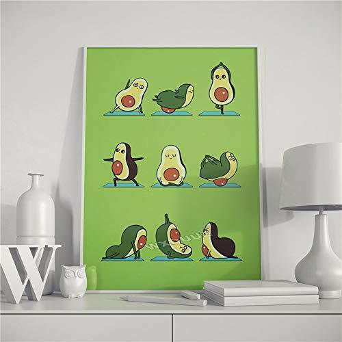 UIOLK Lindo y Divertido Baile de Sushi japonés, póster de Calidad para decoración del hogar, Pintura en Lienzo con Frutas y imágenes de Baile de Yoga de Animales