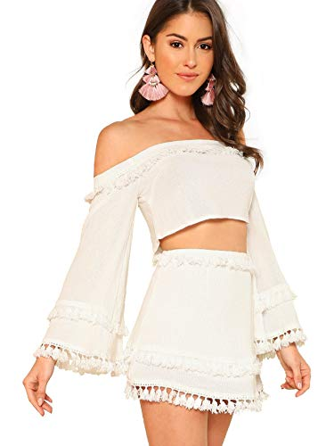 SheIn Women's 2 Piece Outfit Fringe Trim Crop Top Skirt Set X-Large White