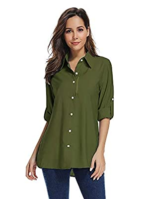 Women's Quick Dry Sun UV Protection Convertible Long Sleeve Shirts for Hiking Camping Fishing Sailing,5019,Army,2X-Large
