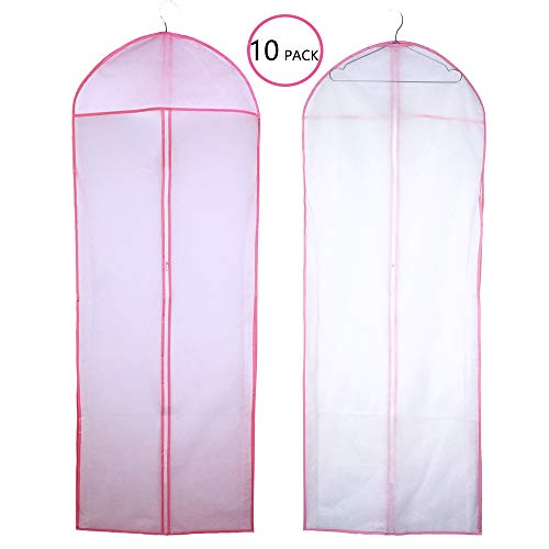 Pack of 10 Clear Long Dress Garment Bag Wedding Gown Garment Clothes Carry Cover for Travel and Storage,155cm