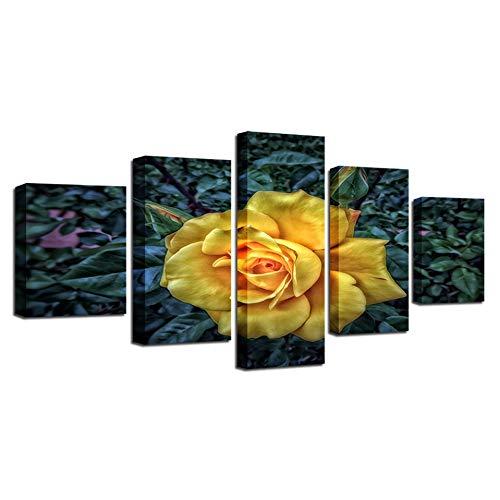 N/Posters Wall Art Canvas prints voor de woonkamer Modulair kader 5 stuks Gele thee Rozen Schilderijen Bloemen Foto Woondecoratie