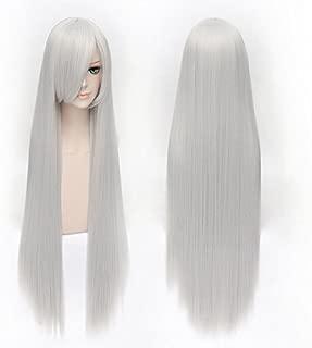 HOOLAZA Silver White Long Straight With Bangs Wig 100Cm Vampire Knight Hiou Shizuka Cosplay Wig