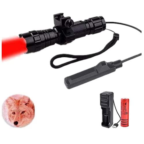 Torcia LED tattica super luminosa 1 modalità Torcia rossa per armi con montaggio su guida Picatinny a sgancio rapido e pressostato remoto Torcia ricaricabile per caccia all'aperto Coyote Hog