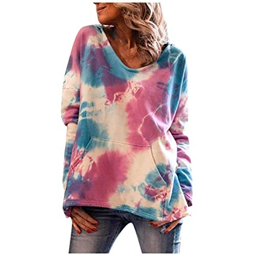 Bylater Women's Long-Sleeve V Neck Pullover Tops Casual Tie-Dye Sweatshirts with Kangaroo Pocket(L.Red)