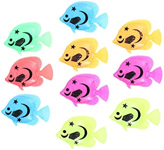 Winomo 10 Pieces de Decoración para Acuario Movimiento Artificial (Patrones de Colores Aleatorios)