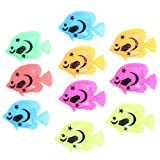 Tinksky 10pcs Lifelike Plastic Artificial Moving Floating Fishes Ornament Decorations for Aquarium Fish Tank (Random Color Pattern)