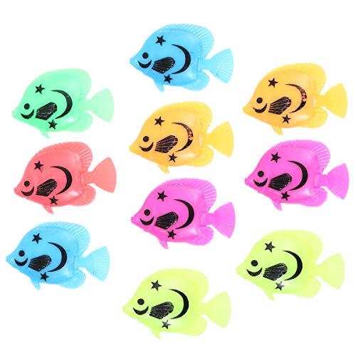 LEORX Kunststoff künstliche Fische für Aquarium Fish Tank Dekor-10ST (zufällige Farbe Muster)