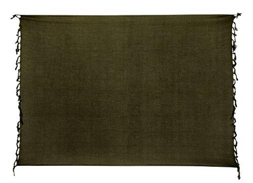 Ciffre Premium Sarong Pareo Wickelrock Strandtuch Lunghi Dhoti Schlicht Blickdicht Einfarbig Olive Khaki