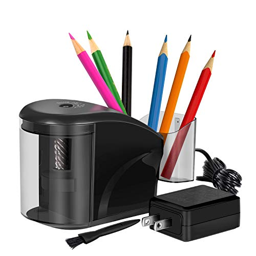 Electric Pencil Sharpener, Pencil Sharpener Heavy-duty Helical Blade, Pencil Storage Holder with AC Adapter and Cleaning Brush, for No.2/Colored/Charcoal Pencils(Black)