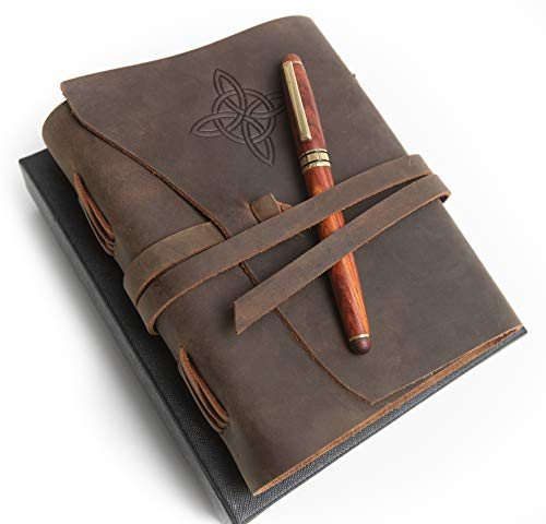 Golden State Ink Best Embossed Leather Journal & Rosewood Pen Gift - Luxury Handmade Leather Bound Notebook Celtic Knot - Travel Diary -7 x 5 Sketchbook - Unlined Paper- Vintage Antique Notepad