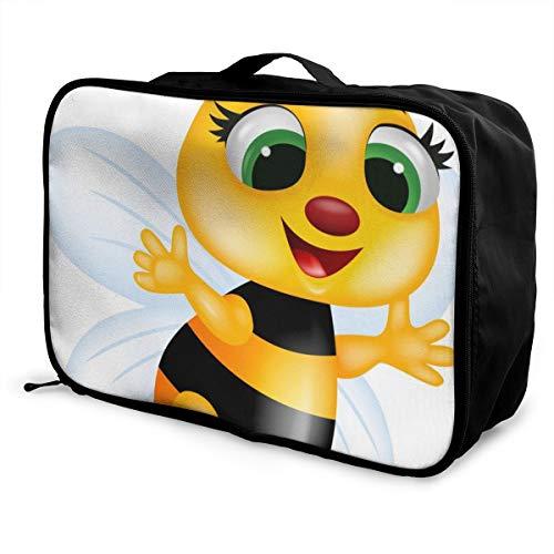 N/B Foldable Cube Travel Bag Fashion Lightweight Large Capacity Portable Luggage Bag (Funny Bee),15'×6'×11'