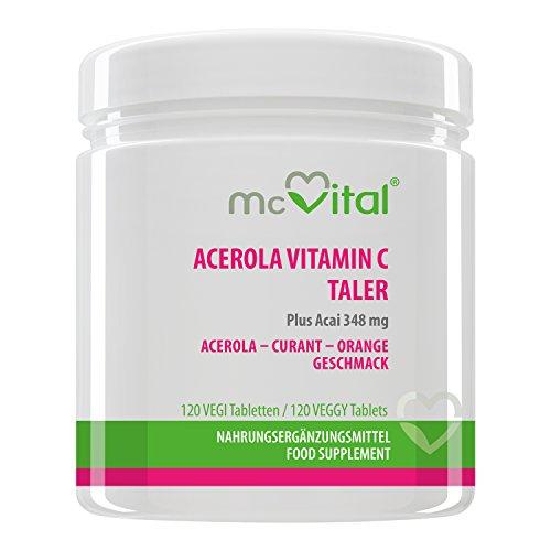 Acerola Vitamin C Taler 2000 mg - Plus Acai und Bioflavonoiden - Mit Abnehm-Effekt - 120 Tabletten
