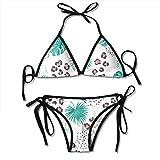 zhkx Bikini Seamless-Tropical-Pattern-Leopard-Print-Palm Bikini Set Two Piece,Triangle Padded Cut out Swimsuit for Ladies Swimming Costume