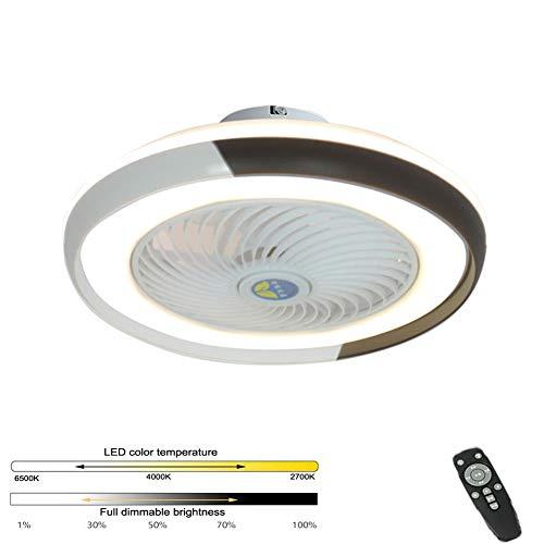 Bluetooth App Deckenventilator Deckenleuchte, Unsichtbare Stummschaltung Nach Hause Mit Elektrischem Ventilator LED Schlafzimmer Licht Einfache Deckenleuchte (Weißgold)
