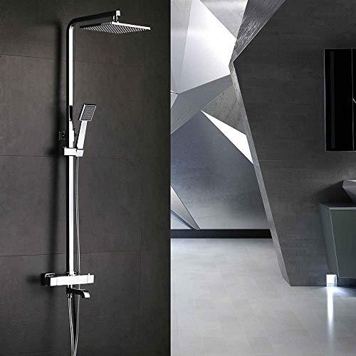 W-SHTAO L-WSWS conjuntos de ducha cuadrado baño ducha grifo termostático inteligente Booster ducha conjunto ducha ducha boquilla cobre durable
