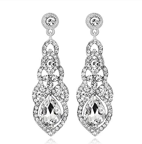 Nuevos pendientes de cristal de la gota de la boda de la manera para las mujeres negro oro color coreano nupcial cuelgan