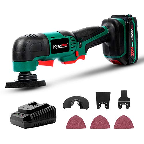 POSENPRO Oscillating Tool, 20V Max Cordless Multifunctional Tool, 2.0Ah Lithium-Ion Battery,Fast Charge,6 Variable Speeds,7-Piece Accessories,Great for Sanding Polishing Cutting Scraping Cleaning