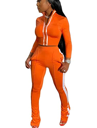 2 Piece Outfits for Women Full Zip Jacket and Pants Sport Set Sweatsuits Orange