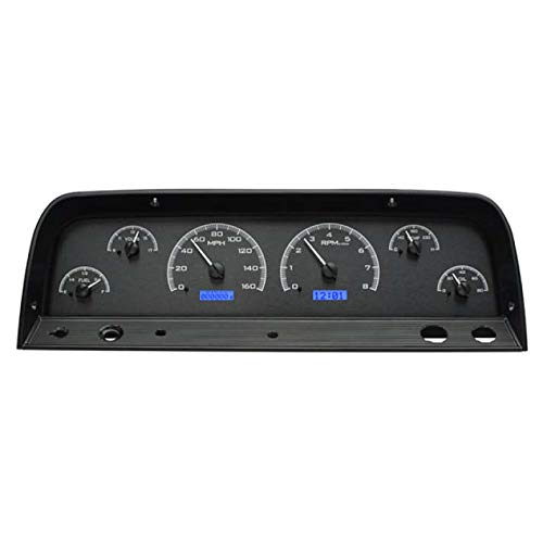 Dakota Digital 64 65 66 Chevy Pickup Truck VHX Analog Dash Gauges Black Alloy Blue VHX-64C-PU-K-B