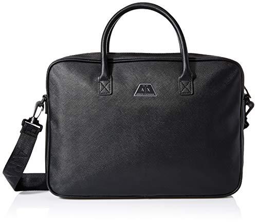 ARMANI EXCHANGE Logo Briefcase - Borsa Uomo, Nero (Black), 10x10x10 cm (W x H L)