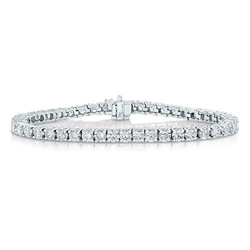 6 cttw Certified Classic Tennis Diamond Bracelet 14K White Gold SI2-I1 Clarity J-K Color