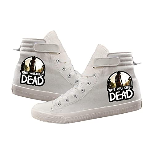 VSOO The Walking Dead Chaussures Montantes en Toile Velcro Chaussures Décontractées Confortables Unisexes (Blanc/Noir)-9_36