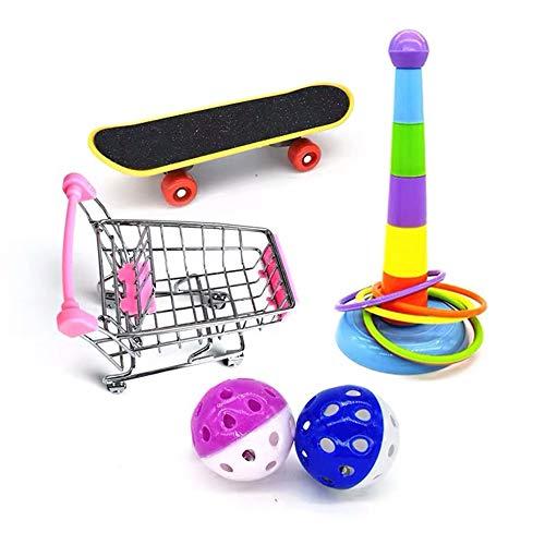 Cysincos 4 pcs Papagei Spielzeug Training Aktivitäten Set, Mini Shopping Trolley Skateboard Trainingsringe Lustiges Vogelspielzeug, Vogelspielzeug für Papageien, Schaukel zum Kauen, Hängematte
