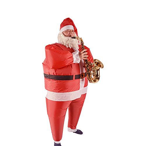 ALEKO CHID014 Aufblasbares Weihnachtsmannkostüm mit Bart und Hut für Urlaub Weihnachten rot